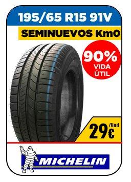 Neumáticos seminuevos. Neumáticos baratos marca Michelin 28€/Und 195/65 R15 91V 90% vida útil