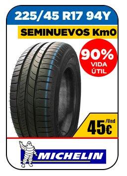 Neumáticos seminuevos. Neumáticos baratos marca Michelin 45€/Und 225/45 R17 94Y 90% vida útil