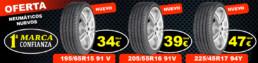 Oferta Neumáticos nuevos 195/65R15 91V a 34€. 205/55R16 91V a 39€. 225/45R17 94Y a 47€