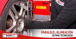 Servicio de alineación y paralelo. última tecnología. Fotografía de un profesional el labores de alineación y paralelo