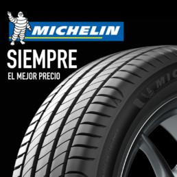 Imagen publicitaria neumático Michelin con logo de la compañía y texto que dice Siempre el mejor precio