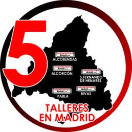 Mapa que sitúa los 5 talleres de la empresa en Madrid.