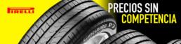 Banner con neumáticos de marca Pirelli. Precios sin competencia