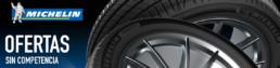 Banner con neumáticos de marca Michelin. Ofertas sin competencia.
