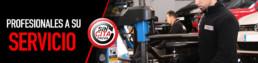 Imagen compuesta por una fotografía de un mecánico de perfil y texto que dice Profesionales a su servicio. Elemento circular central con texto que dice Sin Cita Previa