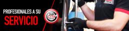 Banner Sin cita previa y Profesionales a su servicio. Imagen de un técnico ajustando tuercas de una rueda
