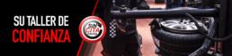 Imagen rectangular con texto que dice Su Taller de confianza, elemento circular al centro que dice Sin Cita previa y fotografía de un cambiador de neumáticos