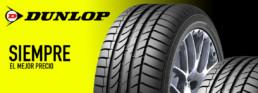 imagen publicitaria neumáticos Dunlop baratos. Siempre al mejor precio
