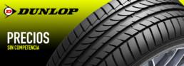 Cabecera imagen publicitaria neumático Dunlop. Precios sin competencia