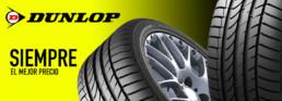 Dunlop. Siempre al mejor precio. Imagen de dos neumáticos Dunlop.