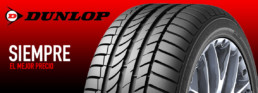 Siempre el mejor precio. Neumáticos Dunlop. Fondo rojo