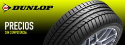 Imagen publicitaria neumáticos Dunlop. Precios sin competencia