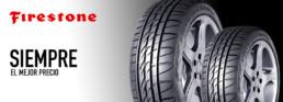 Imagen cabecera neumáticos Firestone. Siempre el mejor precio. Fotografía de dos neumáticos en posición vertical