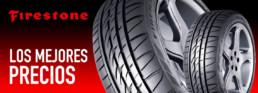 Los mejores precios. Neumáticos Firestone. Fondo negro y rojo degradado en sentido vertical
