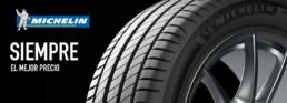 Cabecera imagen publicitaria neumático Michelin fondo negro. Siempre el mejor precio