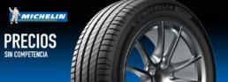 Imagen publicitaria neumáticos Michelin. Precios sin competencia. Fotografía neumático primer plano