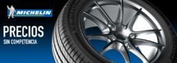 Cabecera imagen publicitaria neumático Michelin. Precios sin competencia