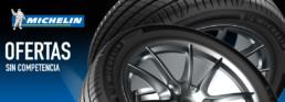 Cabecera neumáticos marca Michelin. Ofertas sin competencia. Fotografía dos neumáticos
