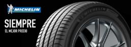 Imagen publicitaria neumáticos Michelin baratos. Siempre el mejor precio. Fondo negro. Primer plano neumático