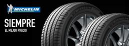 Michelin. Siempre el mejor precio. Imagen de dos neumáticos Michelin en fondo negro