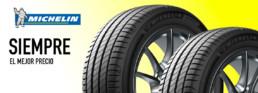 Cabecera neumáticos marca Michelin. Siempre el mejor precio. Fondo amarillo