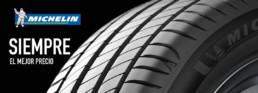Siempre el mejor precio. Neumáticos Michelin. Fondo negro