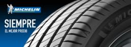 Publicidad Marca de Neumáticos Michelin. Siempre el mejor precio. Fotografía banda de rodadura en primer plano