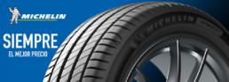 Siempre el mejor precio. Neumáticos marca Michelin. Fondo azul