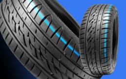 Imagen de dos neumáticos sobre fondo azul