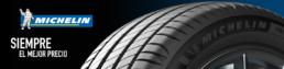 Banner neumáticos Michelin. Siempre el mejor precio. Fondo negro y azul . 1 neumático