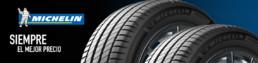 Banner neumáticos Michelin. Siempre el mejor precio. Fondo negro y azul . 2 neumáticos