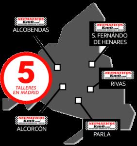 Mapa de talleres de neumáticos baratos